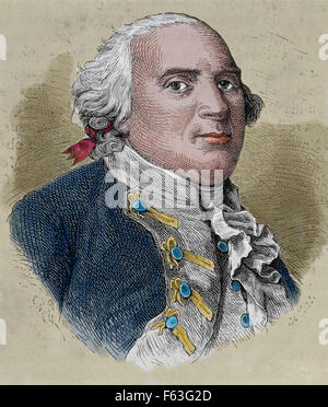 Frederick William II (1744-1797). King of Prussia. Portrait. Engraving. 19th century. Colored. - Stock Photo