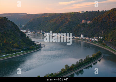 Rhine valley in evening, St Goarshausen, Germany - Stock Photo