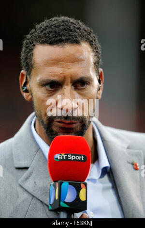 Rio Ferdinand, a BT Sport television presenter at a football match in England - Stock Photo