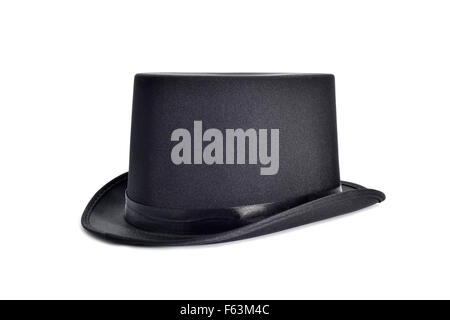 an elegant black top hat on a white background - Stock Photo