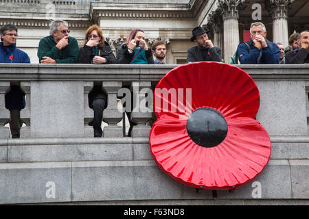 Trafalgar Square, London, UK. 11th November 2015. Onlookers watch proceedings fro the National Gallery. Credit: - Stock Photo