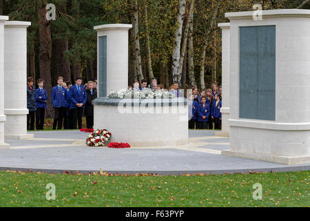 Brookwood Military Cemetery Armistice Day - Uniformed School Students & Children at a Remembrance Ceremony held - Stock Photo