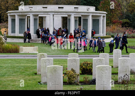 Brookwood Military Cemetery Armistice Day - Uniformed School Children leave a Remembrance Ceremony held in the 1939 - Stock Photo