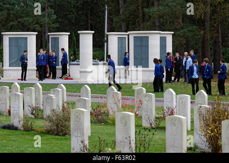 Brookwood Military Cemetery Armistice Day - Uniformed School Students at a Remembrance Ceremony held in the 1939 - Stock Photo