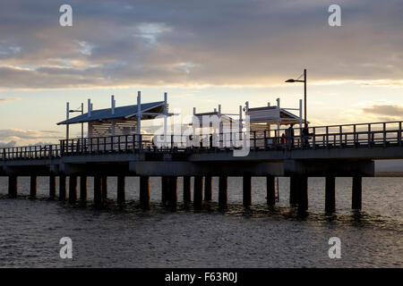 Woody Point Jetty at dusk - Stock Photo