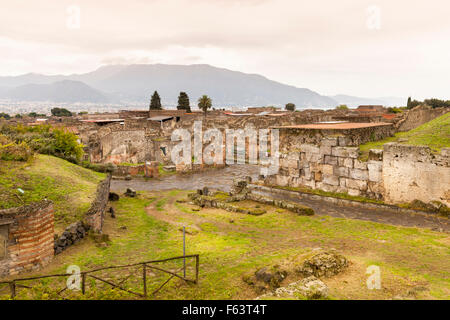 The ancient Roman city ruins of Pompeii, a UNESCO World Heritage site near Naples, Italy - Stock Photo