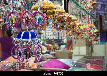 Little India Diwali festival shopping street with art and craft shopping with colorful festival items - Stock Photo