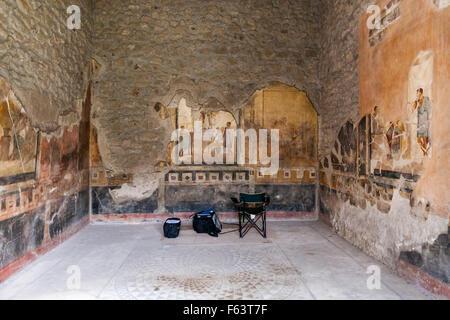 Fresco mural wall paintings at the Casa Degli Amorini Dorati, House of the Gilded Cupids, Pompeii are monitored - Stock Photo