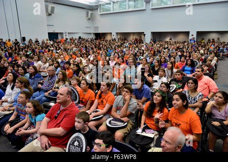 Rick Riordan speaks at Miami Dade College about his new book 'Magnus Chase and the Gods of Asgard, Book 1: The Sword - Stock Photo