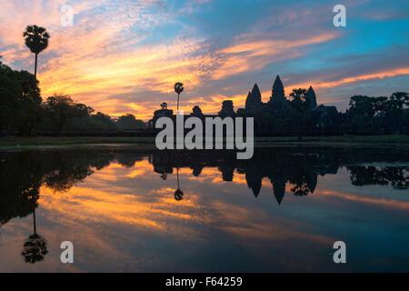 Silhouette of Angkor Wat at sunrise