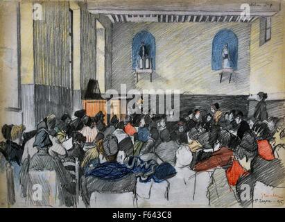 Prisonnières punies dans une salle de la prison Saint Lazare - Punished prisoners in a room of the prison Saint - Stock Photo