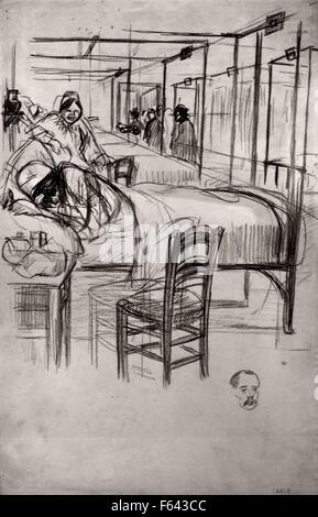 Dortoir dans la prison Saint Lazare- Dormitory in the prison Saint Lazare 1895 Theophile Alexandre Steinlen  1859 - Stock Photo
