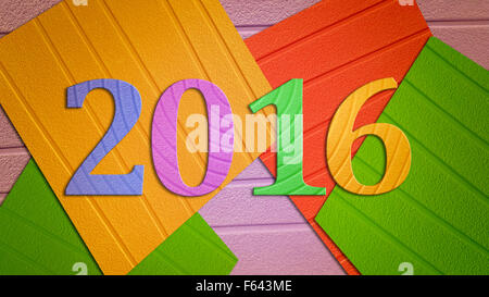 Vintage photo, Happy new year 2016 made of colorful paper background - Stock Photo