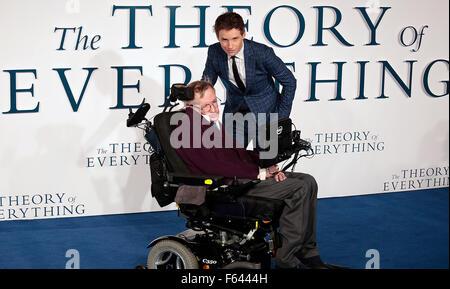 Dec 09, 2014 - London, England, UK - Professor Stephen Hawking and Eddie Redmayne attending The Theory Of Everything - Stock Photo