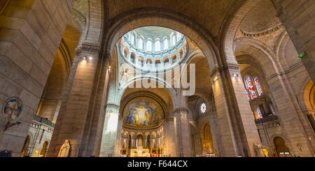 Interior arches of the Basilica of Sacré Coeur, Montmartre, Paris, Ile-de-France, France - Stock Photo