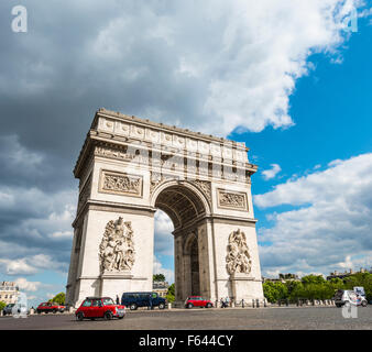 Triumphal Arch, Arc de Triomphe, Place Charles de Gaulle, Paris, Ile-de-France, France - Stock Photo