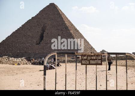 (151111) -- GIZA, Nov. 11, 2015 (Xinhua) -- An Egyptian vendor waits for tourists in the Giza Pyramids in Giza province, - Stock Photo
