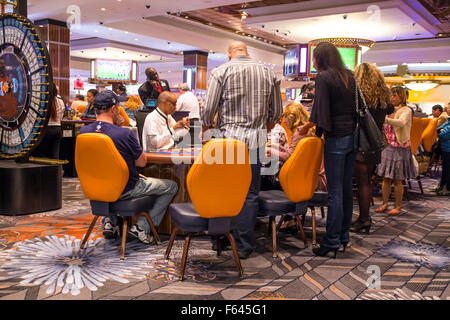View of people gambling at gaming table at Foxwoods Casino. - Stock Photo