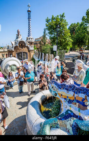 Spain, Catalonia, Barcelona, Gracia district, Park Güell, garden complex with architectural elements designed by - Stock Photo