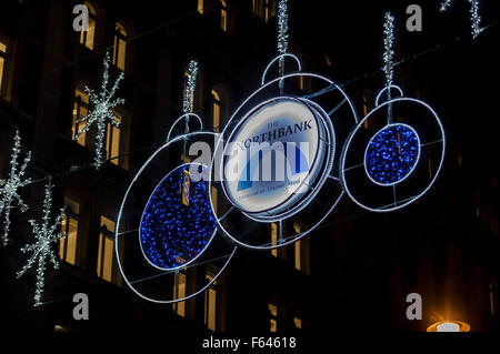 London, UK. 11 November 2015.  Christmas lights on display above The Strand, celebrating The NorthBank from Trafalgar - Stock Photo