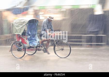 Tricycle Taxi, Nearly Vanishing Vehicle - Samut Sakhon, Thailand - Stock Photo
