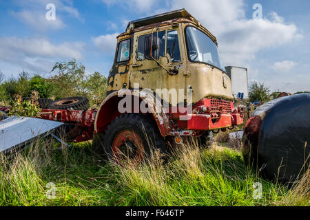 Abandoned Bedford truck left if a farmers field to rot and rust away, - Stock Photo