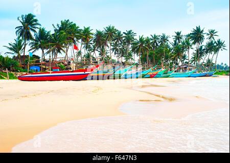 Row of traditional sri lankan fishing boats on ocean beach - Stock Photo