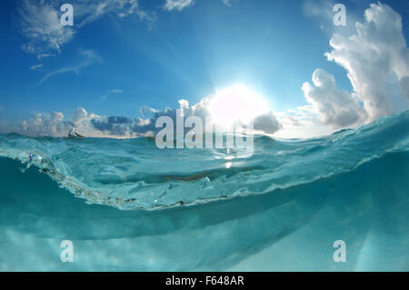 Split level underwater landscape, Indian Ocean, Maldives - Stock Photo