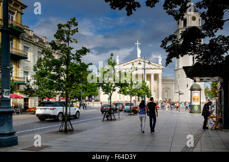 Gedimino Avenue, the main street leading to Cathedral Square, Vilnius,Lithuania - Stock Photo