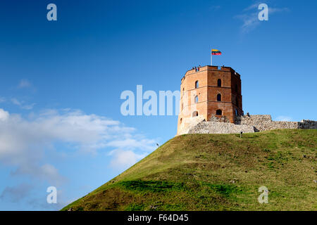 Gediminas Tower in Upper Castle in Vilnius, Lithuania - Stock Photo