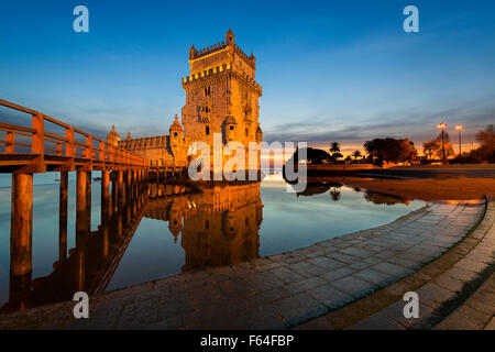 Belem Tower in Lisbon at sunset - Stock Photo