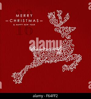 Merry Christmas Happy New Year 2016 greeting card background. Linear reindeer jumping with monogram decoration, - Stock Photo