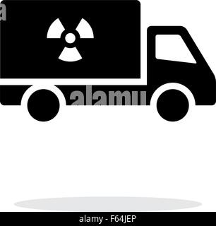 Truck with radiation simple icon on white background. - Stock Photo