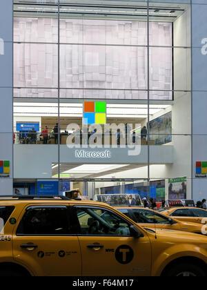 Facade, Microsoft Retail Store, Fifth Avenue, NYC, USA - Stock Photo