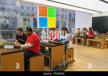 Microsoft Retail Store, Fifth Avenue, NYC, USA - Stock Photo