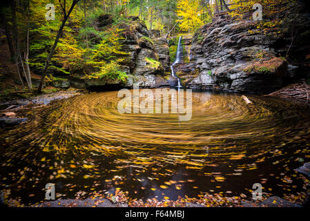 Fall leaves swirl in the pool below Fulmer Falls waterfall in George W. Childs Recreation Site in this long exposure - Stock Photo