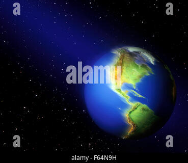 Earth Spinning Among Stars in Space - Stock Photo