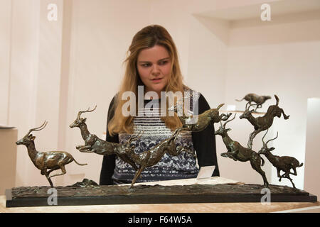 London, UK. 11 November 2015. Exhibition of British sculptor Mark Coreth opens at Sladmore Contemporary Gallery - Stock Photo