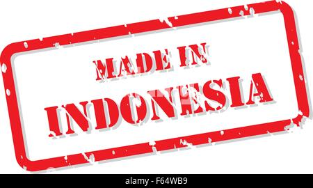 Red rubber stamp vector of Made In Indonesia - Stock Photo