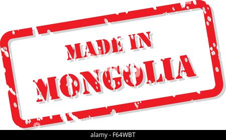 Red rubber stamp vector of Made In Mongolia - Stock Photo