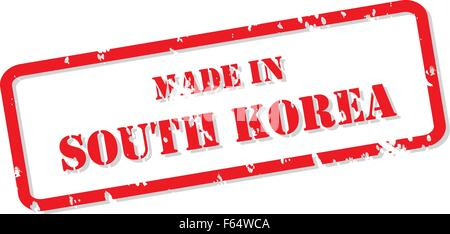 Red rubber stamp vector of Made In South Korea - Stock Photo