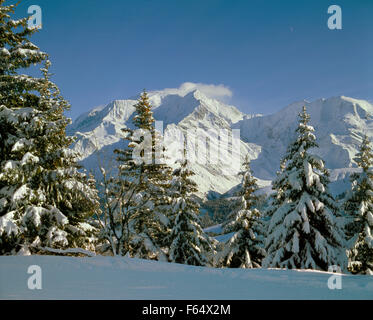 Mont Blanc massif during winter from Bettex, Saint Gervais, Haute Savoie, France. - Stock Photo