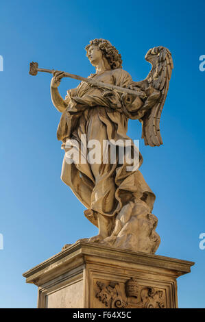 Bernini's angel with the Sponge filled with vinegar against blue sky - Stock Photo