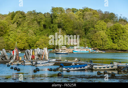 Greenway Quay near Greenway Estate on the River Dart seen from Dittisham, Devon, England, UK - Stock Photo