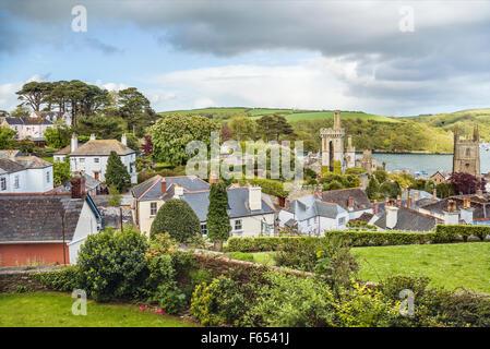 Scenic view over the old town of Fowey, Cornwall, England, UK | Malerische Aussicht ueber die Altstadt von Fowey, - Stock Photo