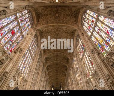 90 degree view of interior of King's College chapel, Cambridge - Stock Photo