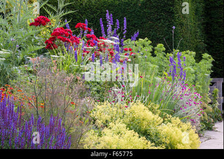Great Dixter, East Sussex, UK - the garden created and made famous by Christopher Lloyd. The Long Border in summer - Stock Photo