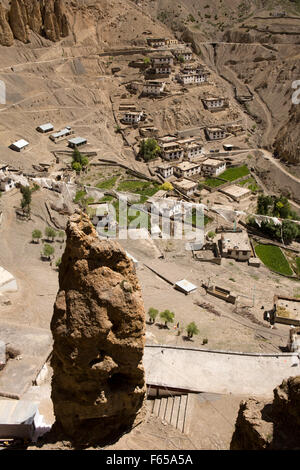 India, Himachal Pradesh, elevated view of Dhankar village and rock pinaccle from monastery - Stock Photo