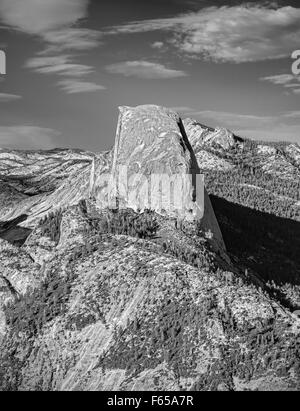 Black and white Half Dome rock formation, famous rock climbers destination, Yosemite National Park, USA. - Stock Photo