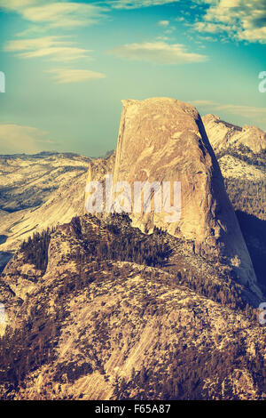 Old film retro toned Half Dome rock formation, Yosemite National Park, USA. - Stock Photo